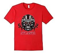 Atlanta Football Helmet Sugar Skull Day Of The Dead T Shirt Red