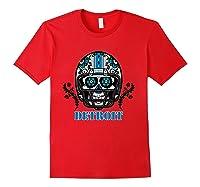 Detroit Football Helmet Sugar Skull Day Of The Dead T Shirt Red