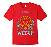 Radical Feminist Witch Pentagram Wiccan Resist Impeach T Shirt Red