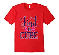 Pink Breast Cancer Awareness Find Cure Ribbon Month T Shirt Red