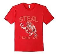 Baseball Cat Gift Steal I Dare Ya T-shirt Red