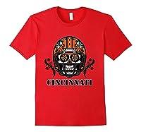 Cincinnati Football Helmet Sugar Skull Day Of The Dead T Shirt Red
