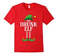 Drunk Elf Matching Family Group Christmas Party Pajama Shirts Red