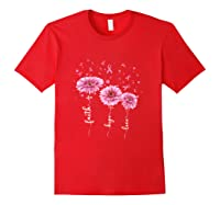 Faith Hope Love Pink Daisy Flower Breast Cancer Awareness T Shirt Red