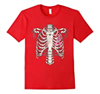 Skeleton Halloween Shirt Breast Cancer Awareness Month Tee Red