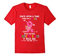 Breast Cancer Awareness A Girl Who Kicked Cancer S Ass T Shirt Red