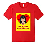 Halloween Bloody Not My Blood Type Vampire Graphic Shirts Red