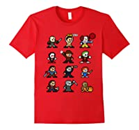 Friends Pixel Halloween Icons Scary Horror Movies Shirts Red