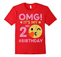 Cute Vintage Retro Emotion Face Omg It's My 2nd Birthday Shirts Red
