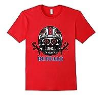 Buffalo Football Helmet Sugar Skull Day Of The Dead T Shirt Red
