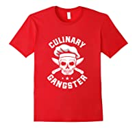 Chef Knife Skull Gangster Culinary Gangster Gift T Shirt Red