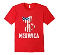 Patriotic 4th Of July Shirt Meowica American Flag Cat Lovers T-shirt Red