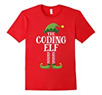 Coding Elf Matching Family Group Christmas Party Pajama Shirts Red