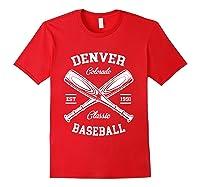 Denver Baseball, Classic Vintage Colorado Retro Fans Gift T-shirt Red