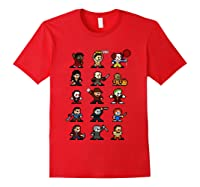 Friends Pixel Halloween Icons Scary Horror Movies T Shirt Red