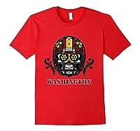 Washington Football Helmet Sugar Skull Day Of The Dead T Shirt Red