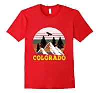Vintage Outdoor Lovers Colorado Mountains Retro T-shirt Red
