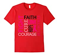 Pink Ribbon Breast Cancer Fighters Survivors Awareness Shirt T Shirt Red