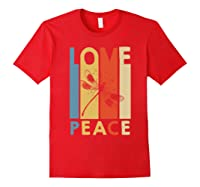 Love Peace Dragonfly Hippie Funny Shirts Red