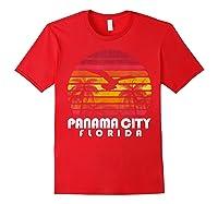Vintage Retro Pa City Fl Florida Sunset Distressed Style T Shirt Red