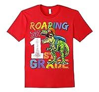 Roaring 1st Grade Dinosaur Back To School Backpack Shirt Boy Red
