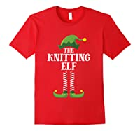 Knitting Elf Matching Family Group Christmas Party Pajama Shirts Red