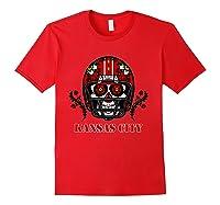 Kansas City Football Helmet Sugar Skull Day Of The Dead T Shirt Red