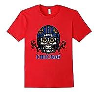 Chicago Football Helmet Sugar Skull Day Of The Dead T Shirt Red
