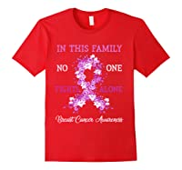Family Support Breast Cancer Awareness Month Pink Ribbon Tee T Shirt Red