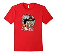 Happy Halloween Cute Cat In Witch Hat Pumpkin Spooky Novelty Shirts Red