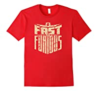 Fast Furious Distressed Lightning Bolt Word Stack Pullover Shirts Red