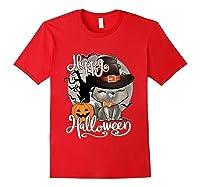 Happy Halloween Cute Cat In Witch Hat Pumpkin Spooky Novelty T Shirt Red
