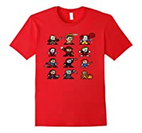 Friends Pixel Halloween Icons Scary Horror Movies Pullover Shirts Red