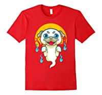 Cute Pug Dog Lover Ghost Funny Halloween Costume Gifts Shirts Red