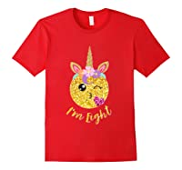 8th Birthday Emoticon Shirt Unicorn 8 Year Girl Sweet Face T-shirt Red