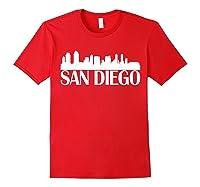 San Diego City Skyline Hot 2019 T Shirt Red