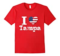 I Heart Love Tampa Patriotic Distressed Vintage T Shirt Red