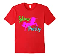 Colorful Glow Party 90's Unicorn Disco Style Dance Shirts Red
