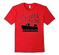 Lake Mode Waterski Boating Shirt Camping Summer Fun Red