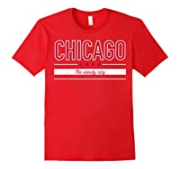 Chicago Flag T Shirt The Windy City Illinois Tee Red