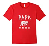 Dad Of 4 Or Quadruplets Papa Bear Shirts Red