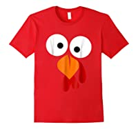 Turkey Face Funny Fun Thanksgiving Day Shirts Red