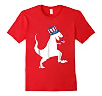 Fourth Of July Dinosaur Shirt Funny Amerisaurus Rex T-shirt Red