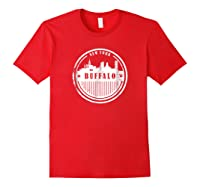 Grunge Buffalo Ny T Shirt Retro Skyline City Red
