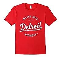 Retro Vintage Detroit Michigan Motor City T Shirt Souvenir Red