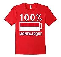 Monaco Flag T Shirt 100 Monegasque Battery Power Tee Red