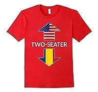 Romanian Two Seater Dad Joke Meme Gift American Flag Shirts Red