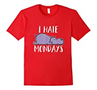 Hate Mondays Cute Funny Hippo Chilling Shirts Red