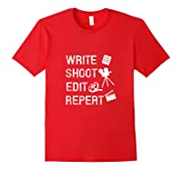 Write Shoot Edit Repeat Movie Filmmaker Gifts Tank Top Shirts Red