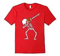 Halloween Dabbing Skeleton Football Dab Soccer Ball Shirts Red